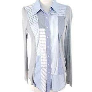Anthropologie Tiny Stripe Ribbed Sleeve Button Up